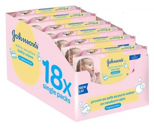 Johnson's Baby Extra Sensitive Fragrance Free Wipes - Bulk Pack of 18, Total 1008 Wipes