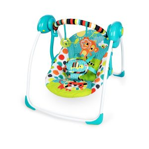 Most colourful baby swing Bright Starts kaleidoscope safari portable swing