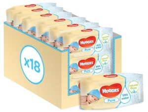 Huggies Pure Baby Wipes - Bulk 18 Packs (1008 Wipes Total)
