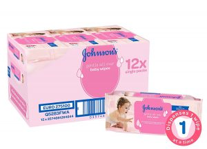 Johnson's Gentle All Over Baby Wipes, Total 672 Wipes - Bulk Pack of 12